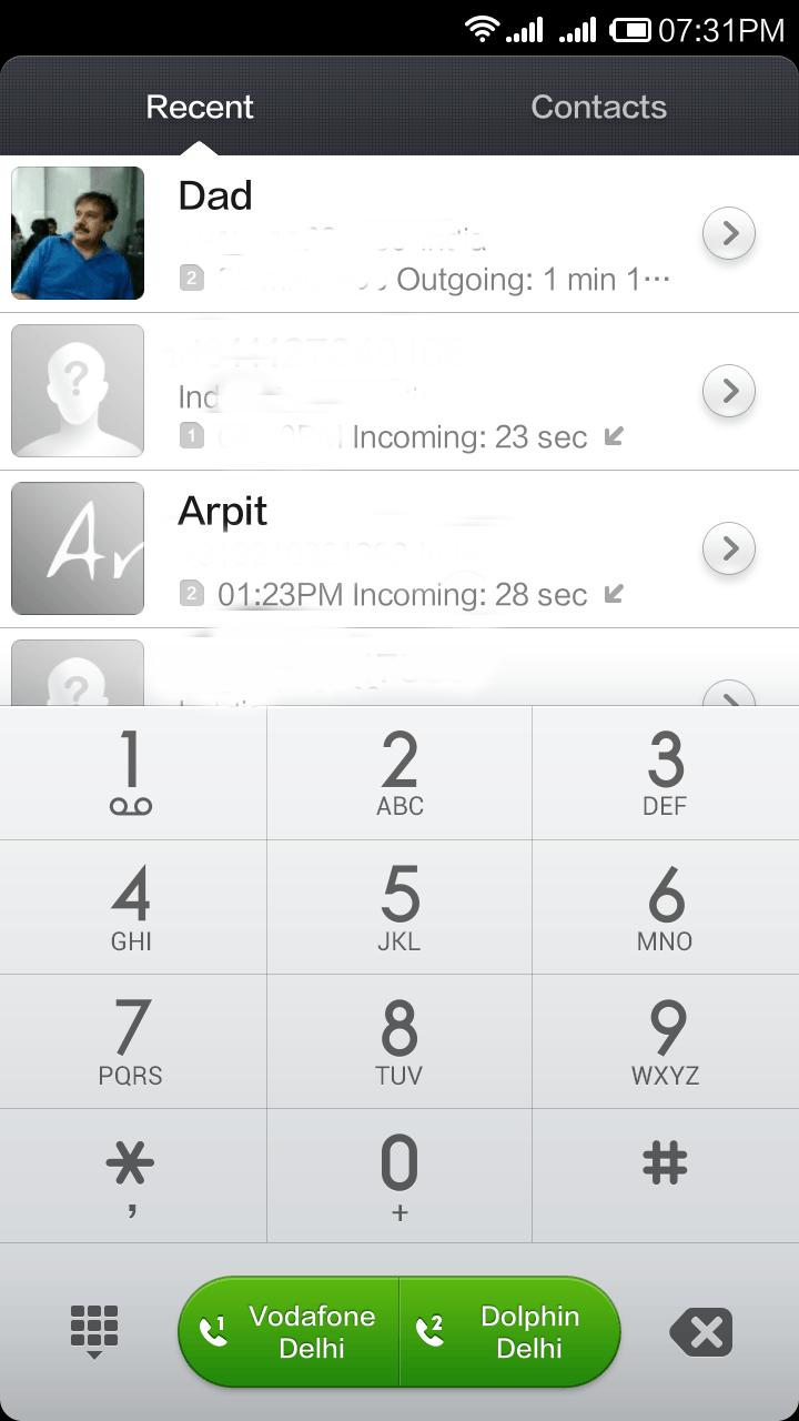 Redmi note interface