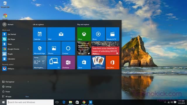 Start Screen of Windows 10