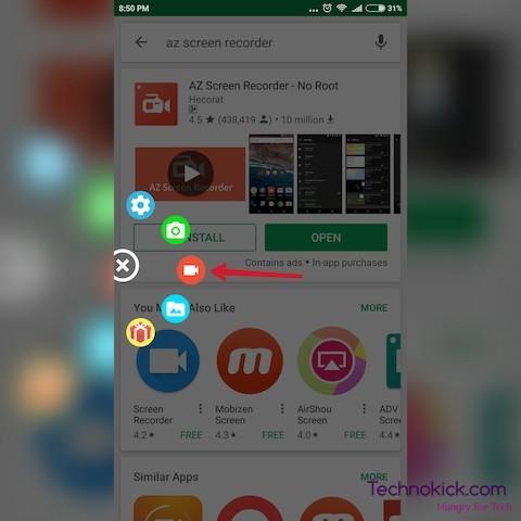 Screen Record on Samsung M31
